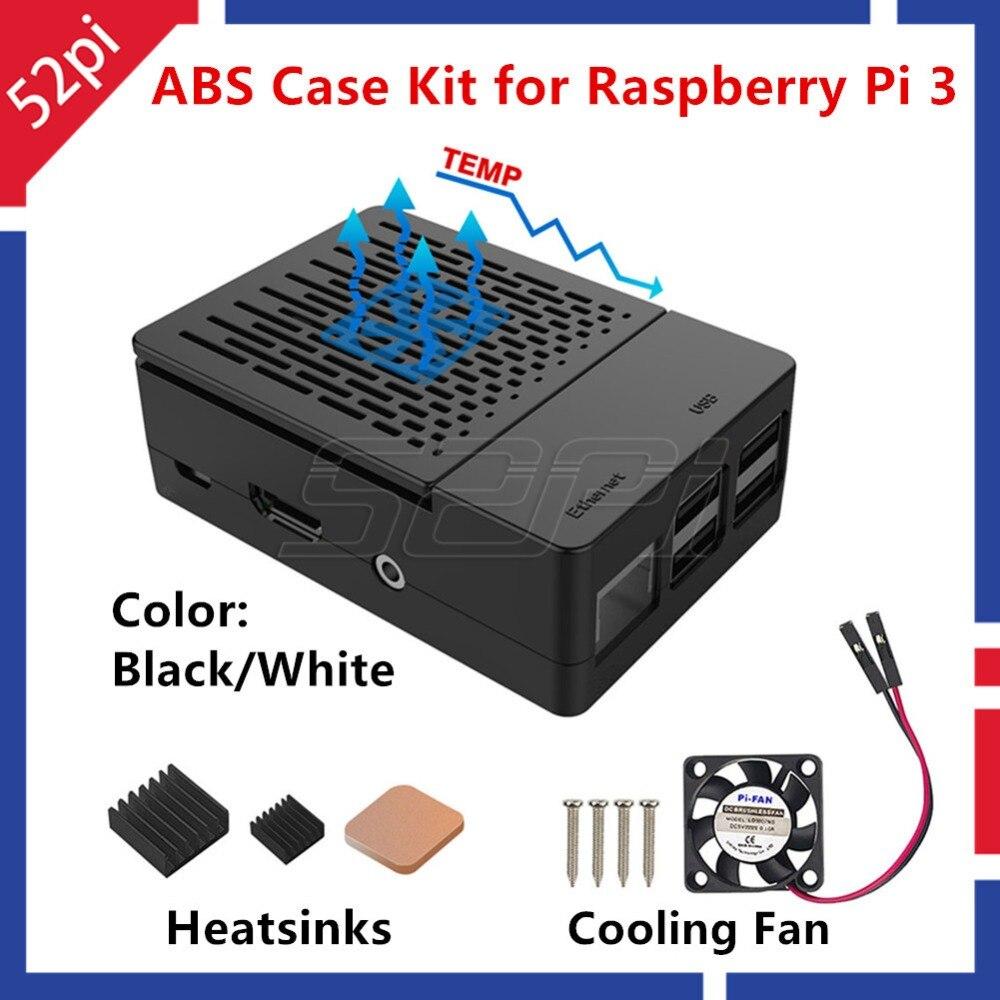 52Pi ABS Nero/Bianco Caso Coperchio Della Custodia Kit con Dissipatore di Calore e ventola di Raffreddamento per Raspberry Pi 3 B + /3/2 modello B