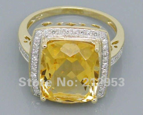 Vintage Cushion 10x12mm Solid 5.92Ct 14Kt Yellow Gold Citrine Engagement Wedding Ring