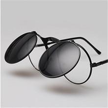 UVLAIK Steam Punk Sunglasses Round Designer Plain Mirror Metal Frames Sun Glasses Retro Men Women's Glasses STEAMPUNK Sunglass