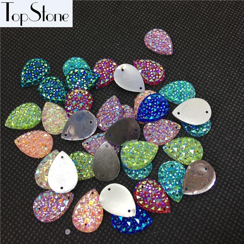 Каплевидные Пришивные бусины 100 шт 10x14 мм 13x18 мм цвета кристалл AB смолы Flatback пришивные стразы 2 отверстия для повседневного платья