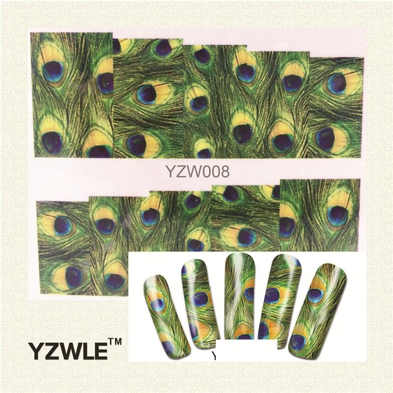 Оригинальные наклейки для дизайна ногтей с зелёным принтом.(YZW-008)