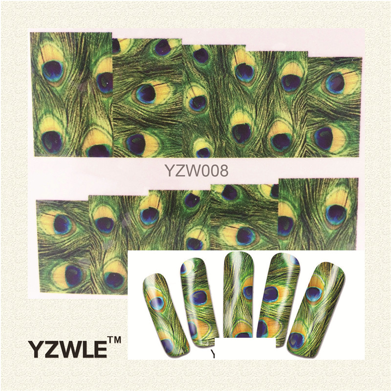 YZWLE 1 Sheet Green Feather Nail Art Water Decals Transfer Stickers, Manicure Decor Tool Cover Nail Wrap Decal(YZW-008) nail clipper cuticle nipper cutter stainless steel pedicure manicure scissor nail tool for trim dead skin cuticle