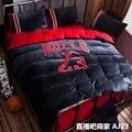 High-grade Soft Crystal Velvet Bedspreads & Coverlets 1PCS Sheet 1PCS Duvet Cover 2PCS Pillow Case NBA JORDAN Quilt Bedding Set