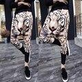 Los hombres leopardo de la manera imprimir harem pants hip hop tiro caído joggers pantalones casuales pantalones largos de Los Hombres gasp pantalon Cruz-pantalones