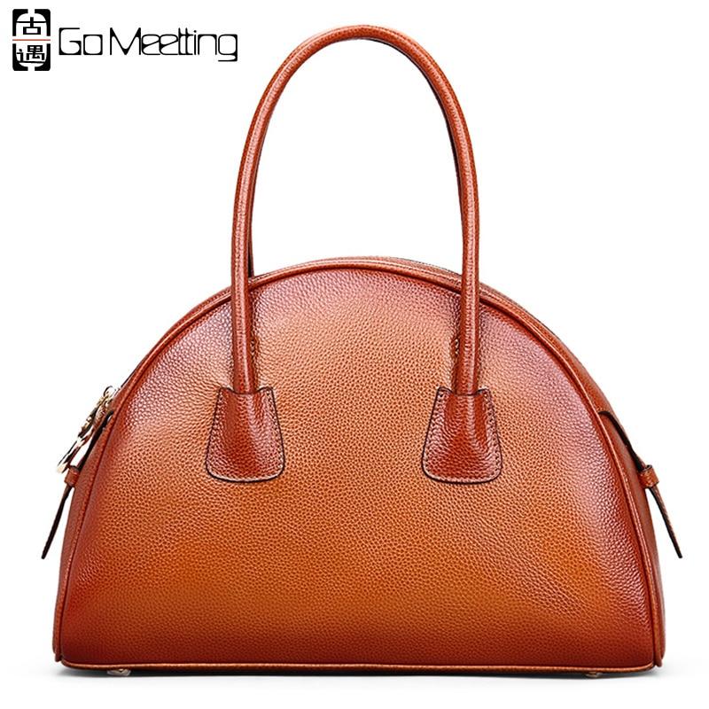Go Meetting Genuine Leather Women Handbags Vintage Ladies Totes High Quality Cowhide Half Moon Women Bag Top-Handle Bags женские часы go girl only go 694923