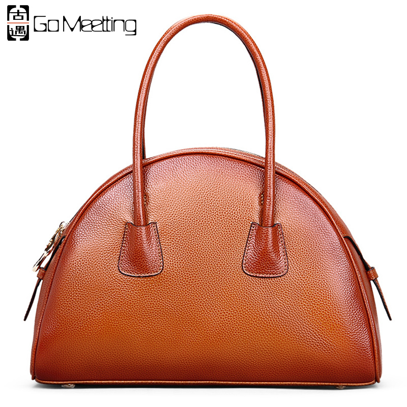 Go Meetting Genuine Leather Women's Handbags Vintage Totes High Quality Cowhide Half Moon Women Bag Top-Handle Bags contact s genuine leather men bag male shoulder crossbody bags messenger small flap casual handbags commercial briefcase bag