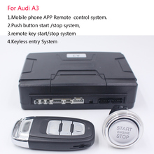 For Audi A3 Car add one push button Start stop system + and PKE Keyless Entry system