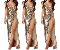Summer Women Gold Sequin Sleeveless Long Elegant Sexy Maxi Dress Backless Pencil vestido Evening Party Shiny Dresses