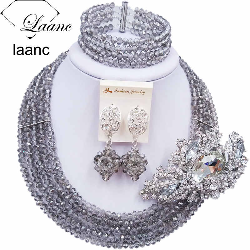 Laanc Handmade Grey Gray Crystal Beaded Necklace Nigerian Wedding African Beads Jewelry Set for Women 5DS018