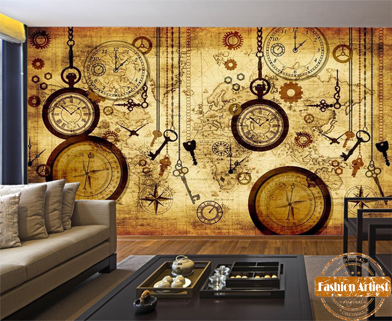 Custom Vintage Travel World Map Wallpaper Mural Clock Key Compass Pocket Watch Tv Sofa Bedroom Living Room Cafe Bar Restaurant In Wallpapers From Home