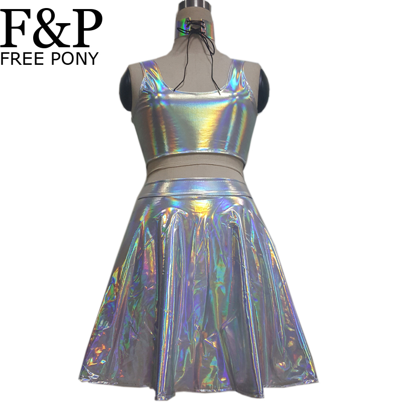 holographic choker skirt festival rave wear clothes