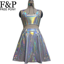 FREE PONY Holographic Choker Festival Rave Clothes Outfits Crop Top Set High Waist