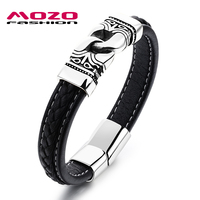 New Products Male Cowhide Leather Bracelets Golden Stainless Steel Retro Bracelet Punk Rock Men Trendy Jewelry