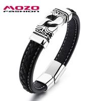 New Products Male Cowhide Leather Bracelets Golden Stainless Steel Retro Bracelet Punk Rock Men Trendy Jewelry