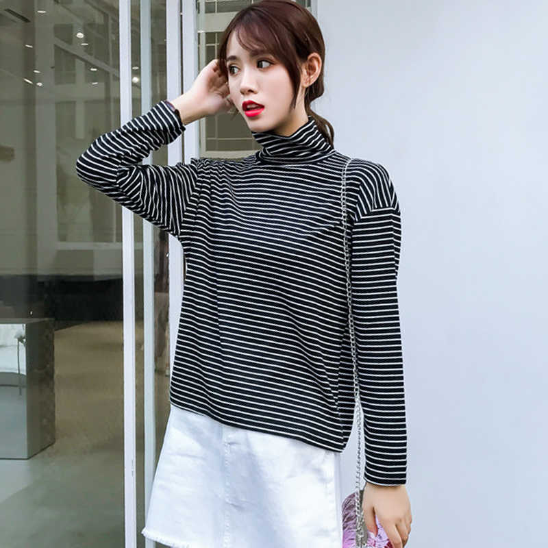 8b7ff491 2018 new autumn Korean Style Long Sleeve turtleneck T Shirts Fashion black  white Striped tops tee