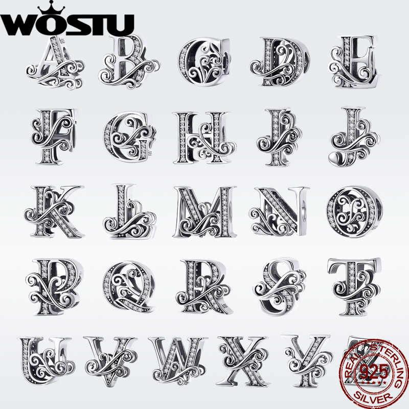 WOSTU Новая мода 925 серебро 2019 A-Z буквы бусины для оригинальной Подвески браслет кулон браслет для женщин ювелирные изделия DAC030