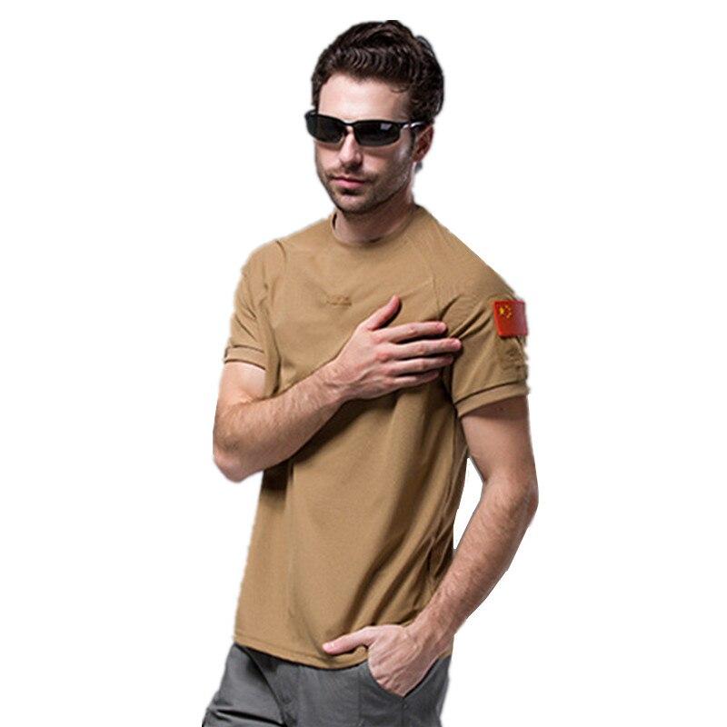 Prix pour En plein air Tactique T-shirt Hommes S-XXXL Coolmax Manches Courtes T-shirt Hommes À Séchage Rapide Militaire Base Chemise la Randonnée En Été T-shirt Hommes