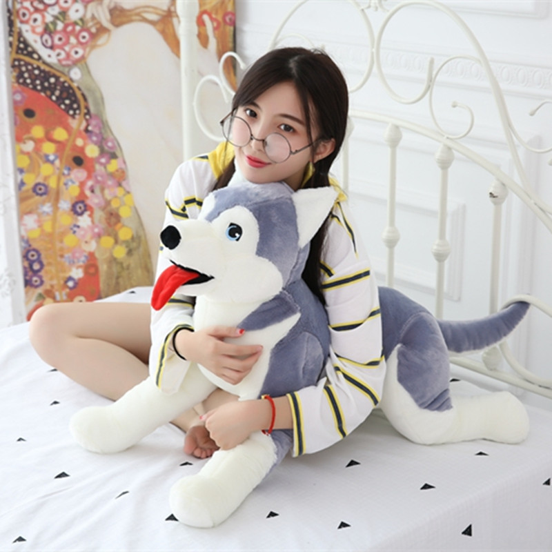 1pc 50cm Cute Husky Plush Pillow Staffed Soft Animal Dog Toys Kids Baby Appease Doll Nice Christmas Gift for Children Girls nooer plush bull terrier dog kids baby toy super soft sleeping pillow for children birthday christmas gift free shipping