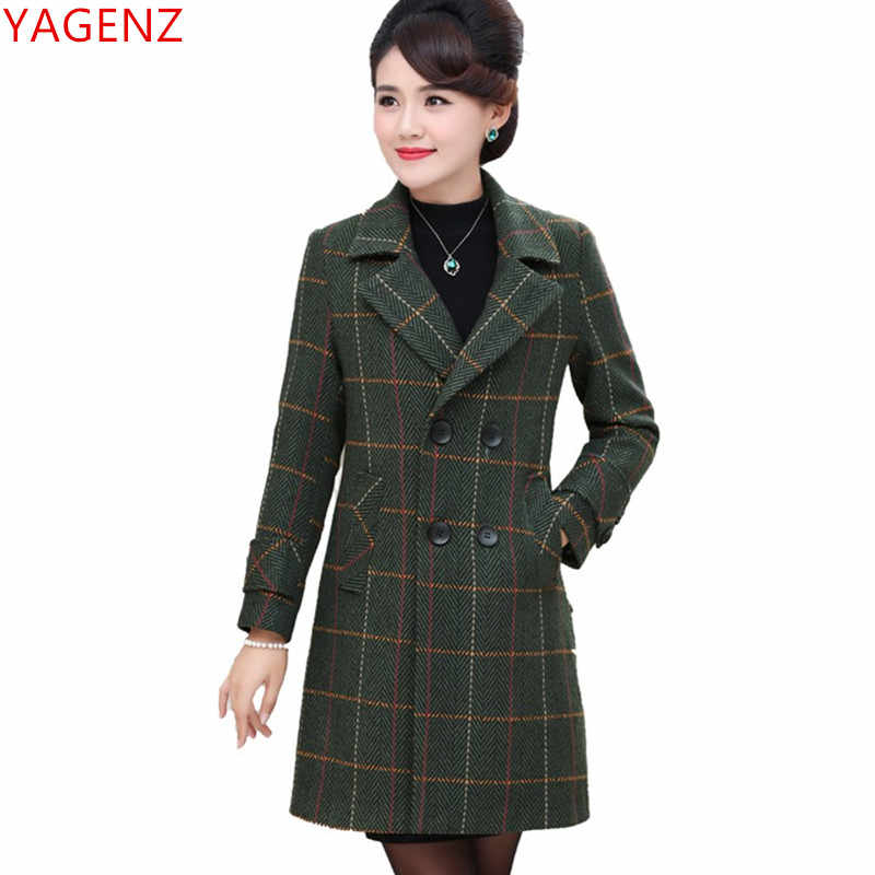 2019 New Tops Autumn Winter clothing fashion lattice Woolen coat Double-breasted elegant women coats warm Wool coat women 1945