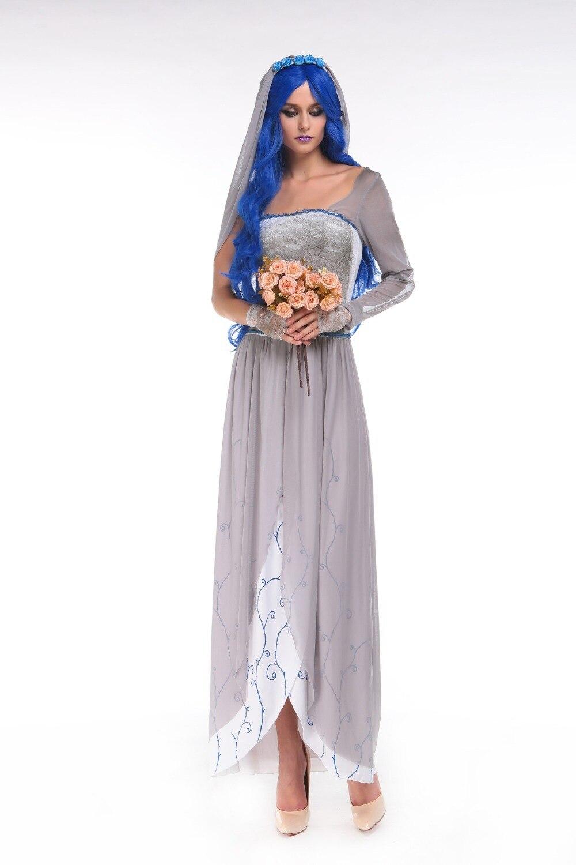 Новый Европа и США Хэллоуин Невеста Чаки костюм Косплэй белый призрак длинное платье с veilfancy дьявол платье