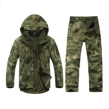Men Outdoor Hunting Clothes Camping Waterproof Windproof Coats Sport Soft Shell Jacket Hiking Hoody TAD Softshell Jacket+pants