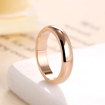 High quality 4mm Wholesale Simple Ring Fashion Rose Gold Ring Men's and Women's Exclusive Couple Wedding Ring 1