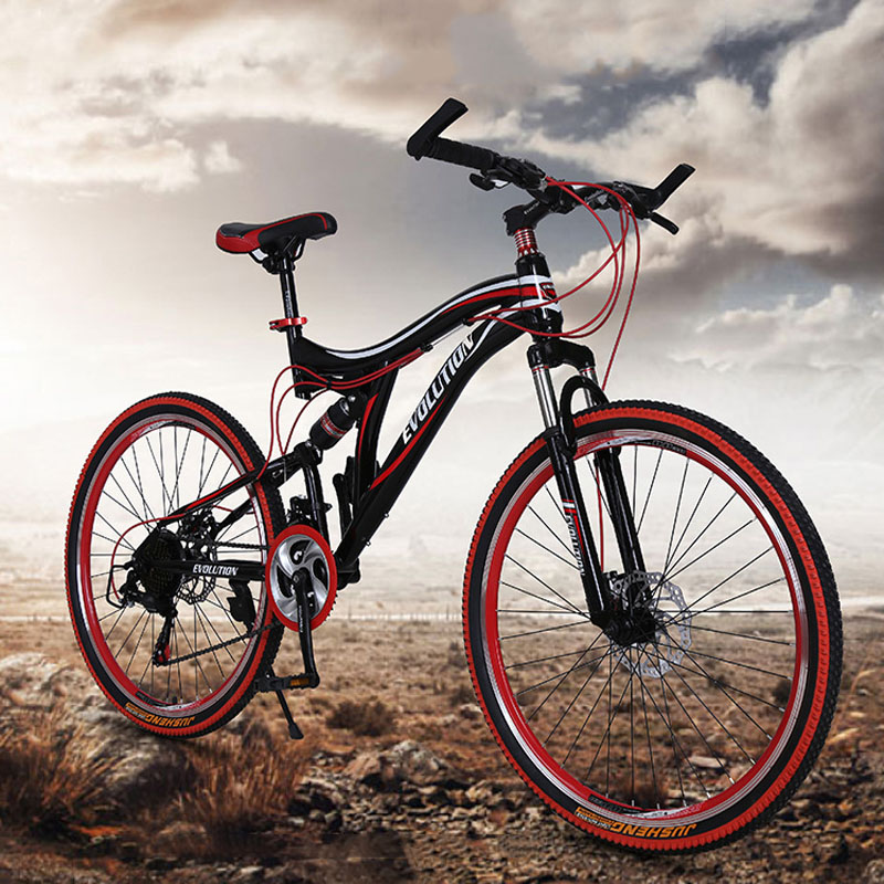 Mountain Bicycle High-carbon Steel 3 Colors 26 Inch 21 Speed Double Disc Brake Aluminium Alloy Folding For Adult  Road Bike
