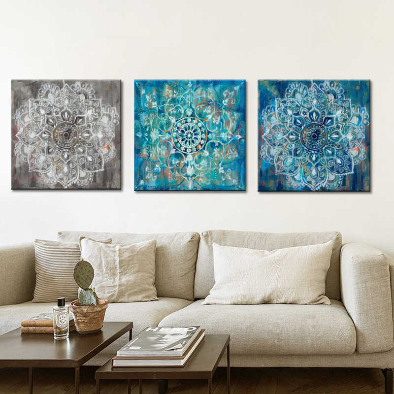 Abstract Art Posters and Prints Wall Art Canvas Painting Classic Brick Draw with Mandala Flower Picture for Living Room No Frame
