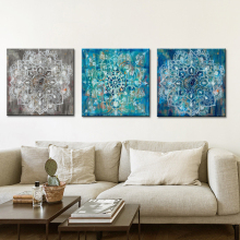 Abstract Art Posters and Prints Wall Canvas Painting Classic Brick Draw with Mandala Flower Picture for Living Room No Frame