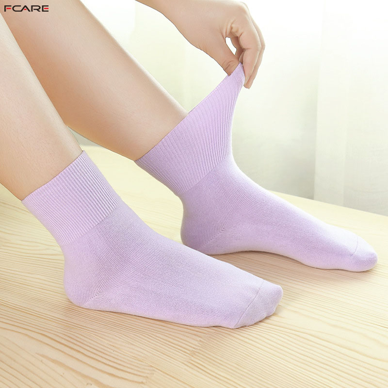 Fcare 10PCS=5 Pairs Women Solid Colorful Socks Pregnant Socks Maternity Hypertension Diabetic Cotton Socks With Binding Top