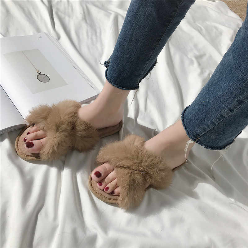 COOTELILI Winter Fashion Women Home Slippers Rabbit Fur Warm Shoes Woman Slip on Flats Female Slides Plus Size wholesale
