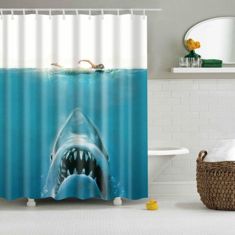 Nouvelle Coloré Écologique Animal Canard Shark Loup Dinosaure Polyester Haute Qualité Lavable Décor De Bain Rideaux De Douche