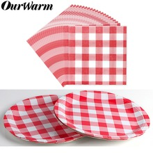 OurWarm Picnic Party Disposable Tableware Red Plaid Napkins Paper Plates Dinnerware Set BBQ Supplies