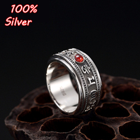 10MM S925 Sterling Silver Six characters' true words' vajra 'a silver vintage personality can turn rings