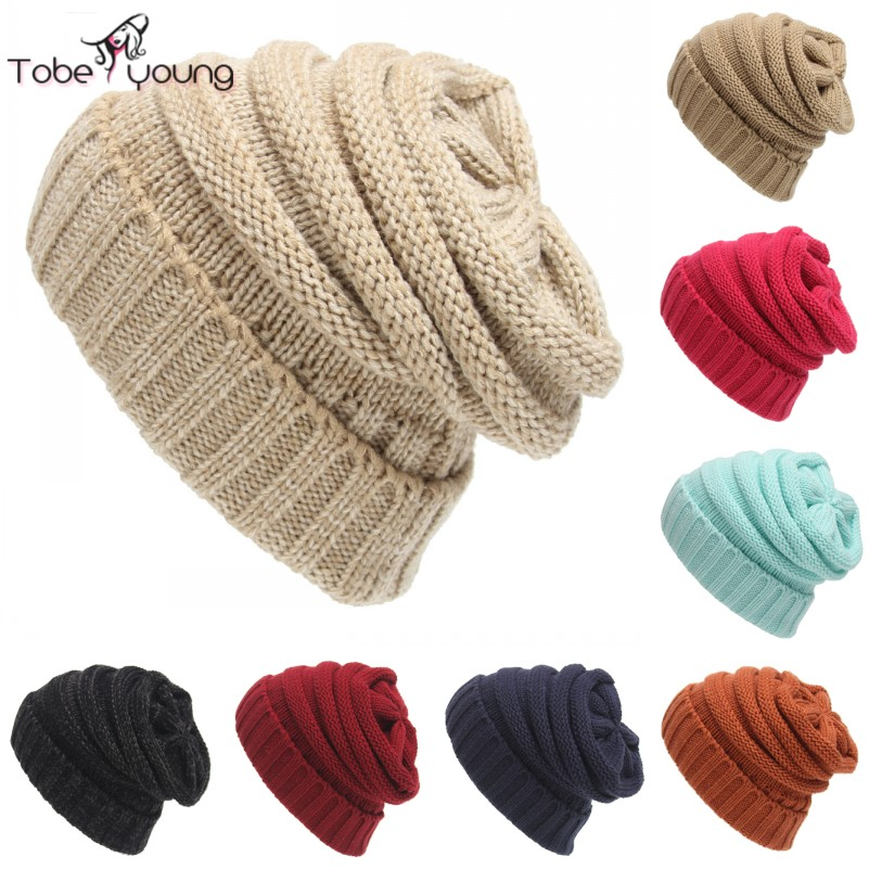 2016 New Casual Autumn Winter Knitted Hats For Women Men Baggy Beanie Hat Crochet Chunky Slouchy Oversized Ski Cap Warm Skullies winter hat casual women s knitted hats for men baggy beanie hat crochet slouchy oversized ski caps warm skullies toucas gorros