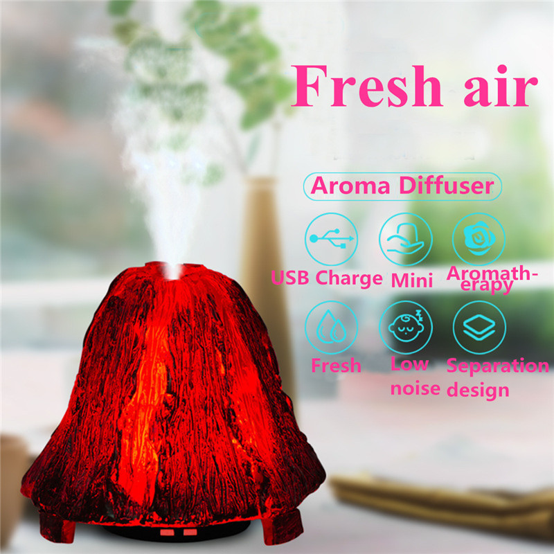 7 Color LED Light Volcano Shape Aroma Diffuser Essential Mist Humidifier Aromatherapy AC 100-240V EU Plug 90ML For Home Office