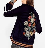 2016 Autumn Woman Navy Velvet FLORAL EMBROIDERED BOMBER JACKET Coat stretch collar cuffs hem Side band sleeves side Pockets