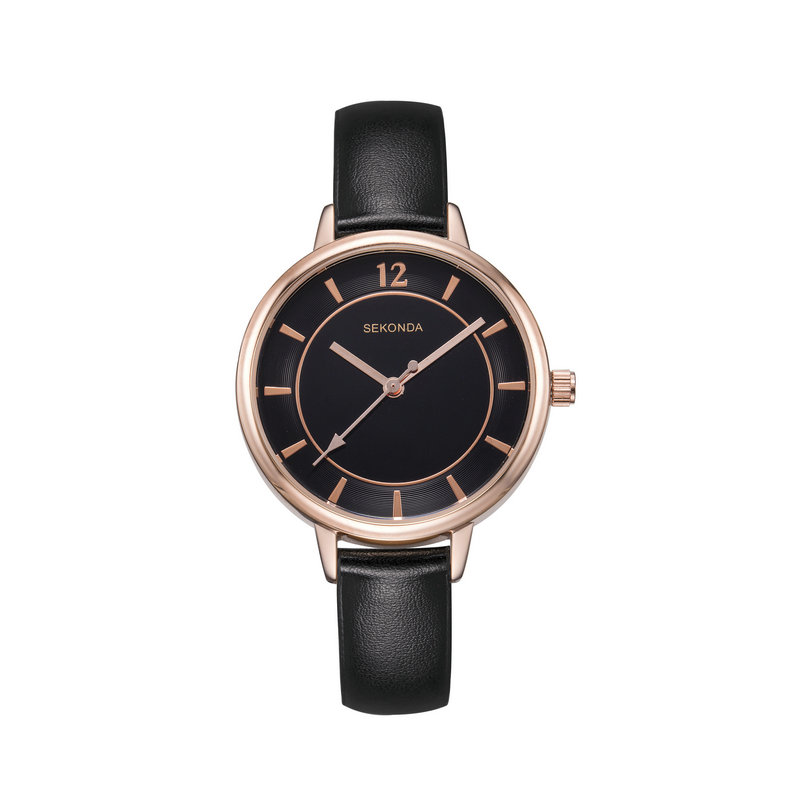 Sekonda Simple Ladies Fashion Quartz Wrist Watch Womens Thin Black Leather Wristband Casual Big Face Dress Woman Watch Gift