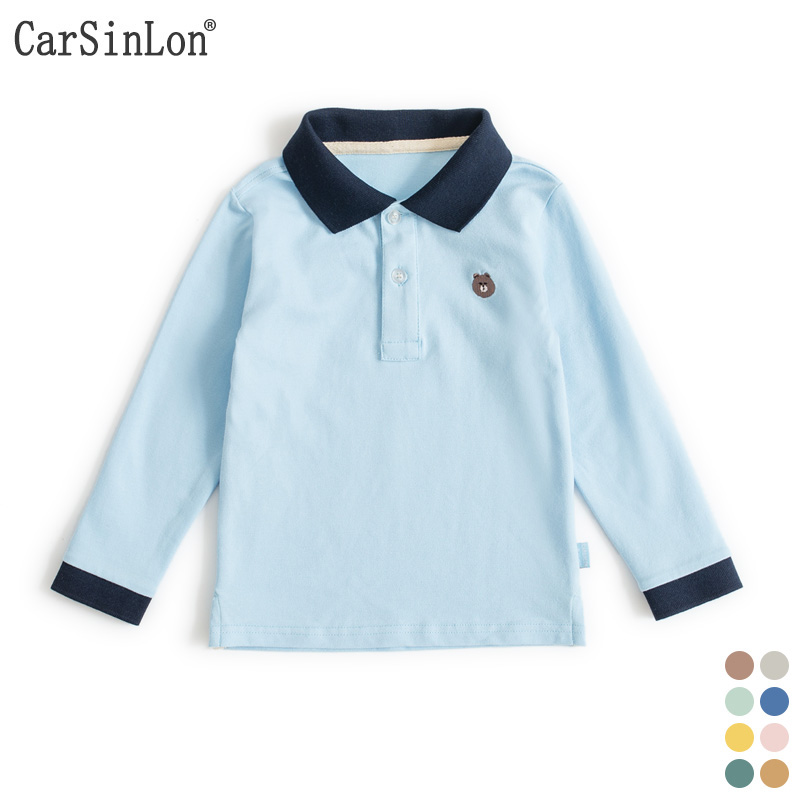High Quality Kids Boys Polo Shirt Long Sleeve Cotton Thin Comfortable Fabric Handsome For Children White Sports Tops Tee