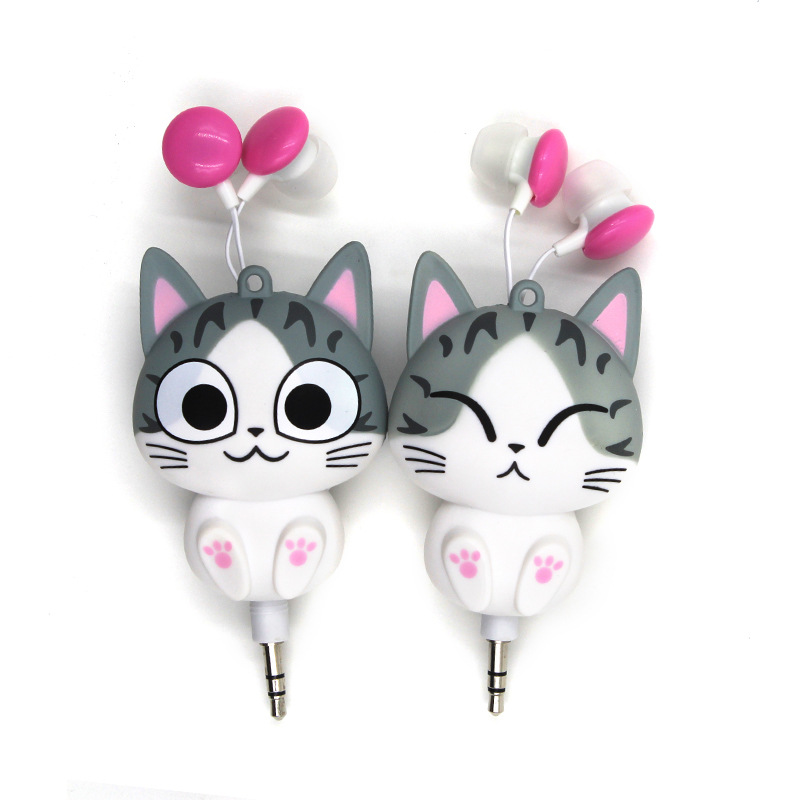 Cute Cheese Cat Cartoon Automatic Retractable Earphones for Mobile Phone for iphone 6s for girl Cartoon Earphones Cute Headphone