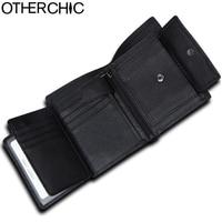 OTHERCHIC Rfid Blocking Black Short Wallets Men Genuine Leather Purse Card Holder Vintage Roomy Wallet Men