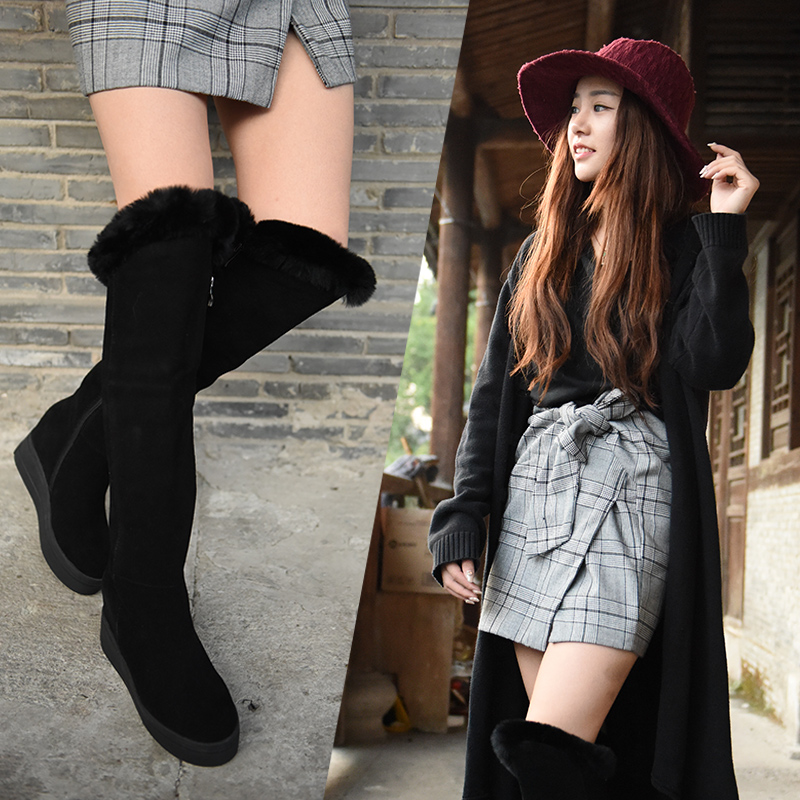 2016 New Winter Grind Arenaceous Cowhide Thigh Boots Thick Bottom Slope Increased Women Boots Over the
