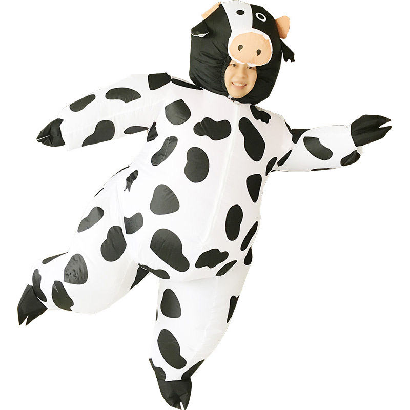Kids Cow Inflatable Costume Mascotte Milk Cattle Costume Inflatable Cow Carnival Halloween Suit For Adult Party Cosplay Costumes