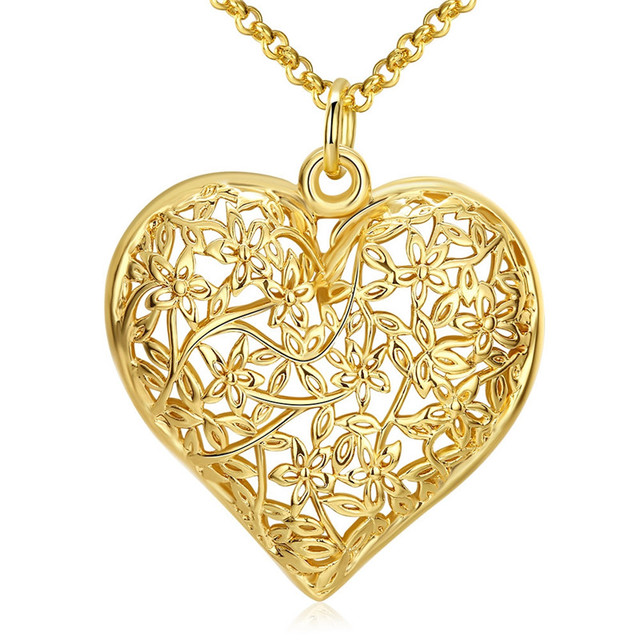 Retro gold color heart pendant necklace hollow carved classic retro gold color heart pendant necklace hollow carved classic european style nice valentines day gift top mozeypictures Image collections