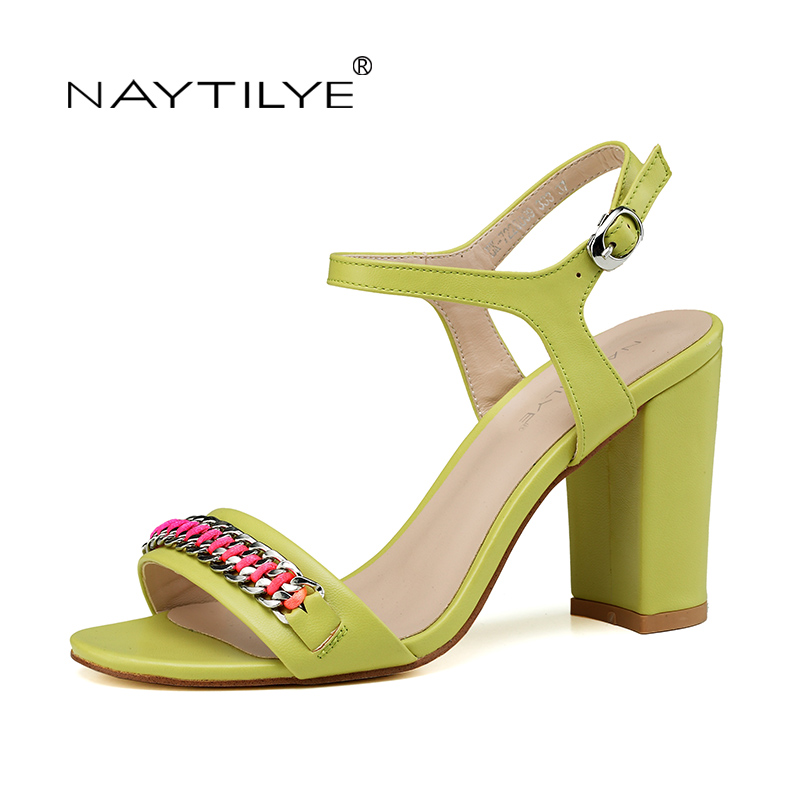 NEW Summer shoes for woman Fashion green high heels sandals PU ECO Leather Chain Casual yellow 36-41 Free shipping NAYTILYE capputine new summer sandals woman shoes 2017 fashion african casual sandals for ladies free shipping size 37 43 abs1115