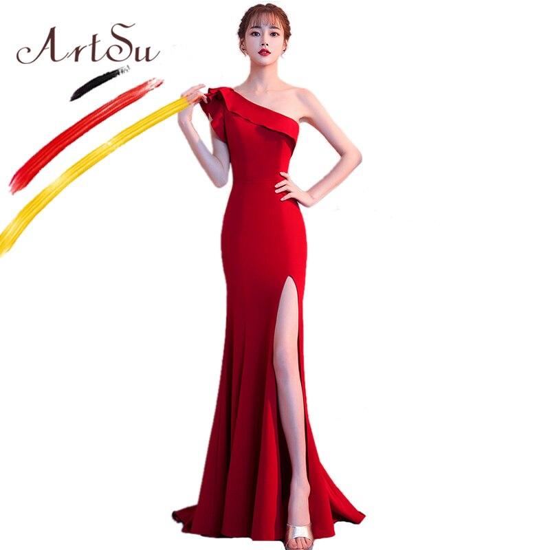 ArtSu élégant bleu longue robe de bal femmes Sexy fendue à volants une épaule étage-longueur Maxi robe de soirée hiver rouge robes de sirène