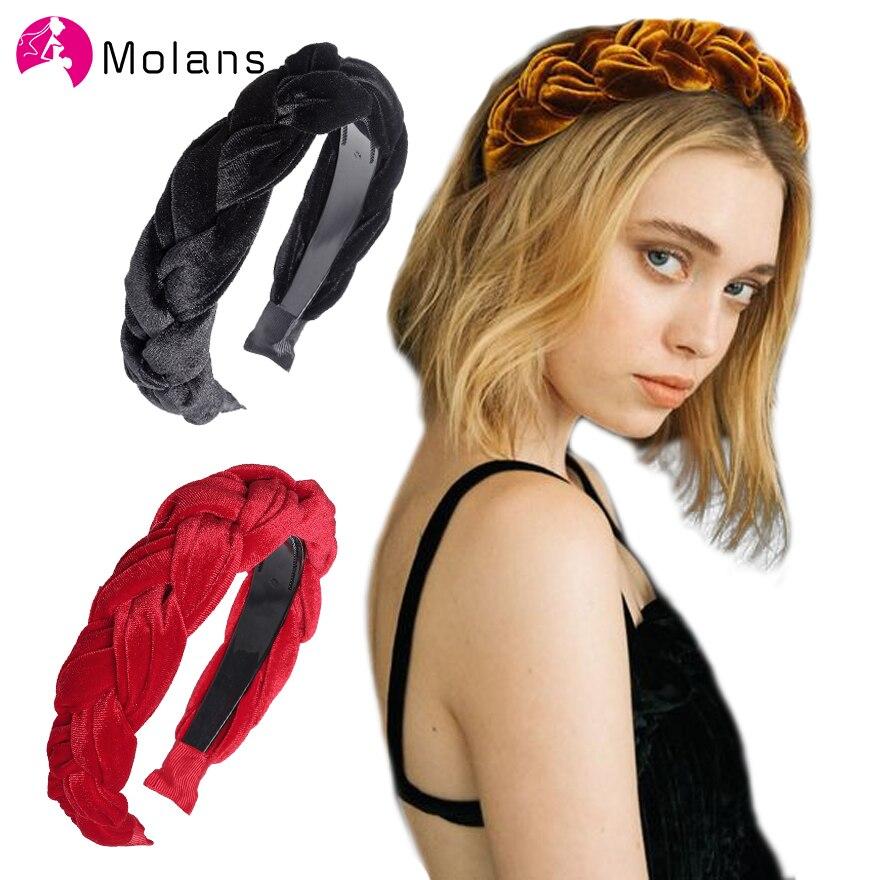 MOLANS Solid Wide Velvet Hairbands Bezel Headdress Hair Accessories For Modern Women Headband Hair Hoop Fashion Hair Bands