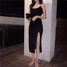 2019 Sexy Black Beach Summer Dress Women Spaghetti Strap Backless Vintage Sleeveless Side Split Dresses