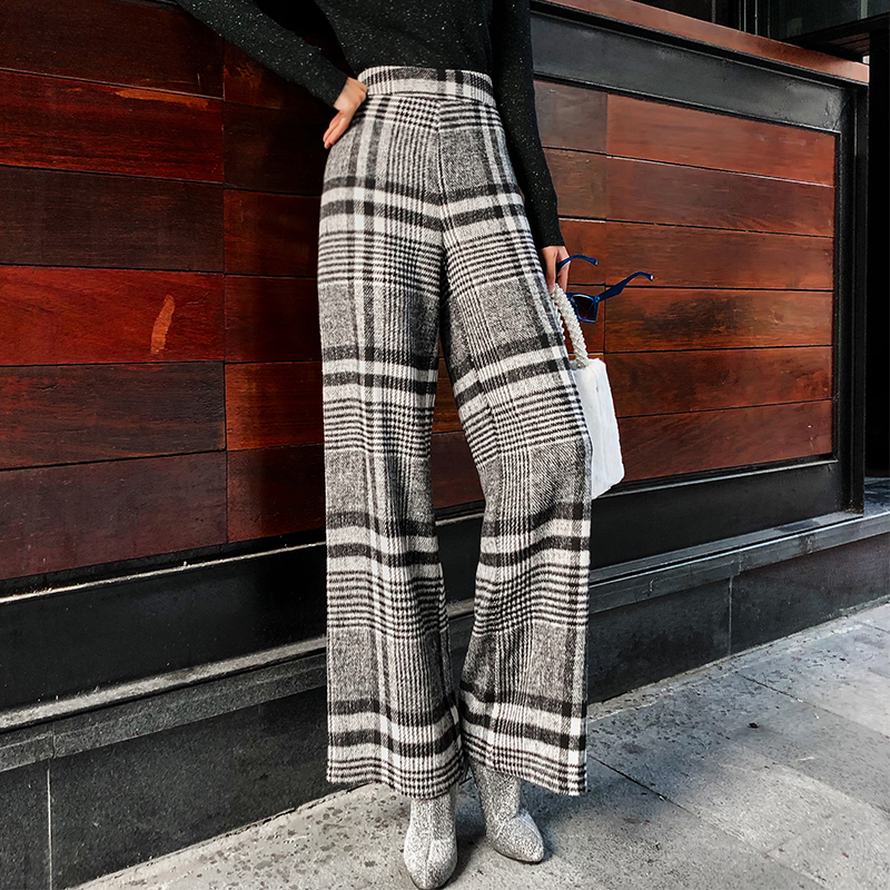 European American Style Women Winter Thick Wide Leg   Pants   Classic Plaid Pattern Wool Blend High Waist Casual   Pants     Capris