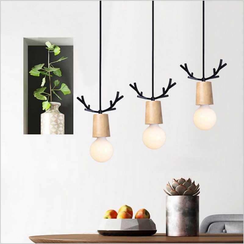 LukLoy, скандинавский деревянный подвесной светильник с рогами, современный подвесной светильник, обеденный стол, кухонный светильник, лофт, гостиная, лофт, кухонная лампа